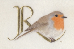 R for Robin,  on vellum